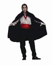 Picture of Black Nylon Taffeta Hooded Cape 45in
