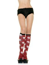 Picture of Knee High Socks with Skulls Black and Red