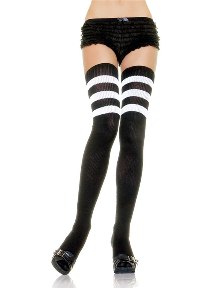 Picture of Black & White Athletic Thigh High Striped Socks