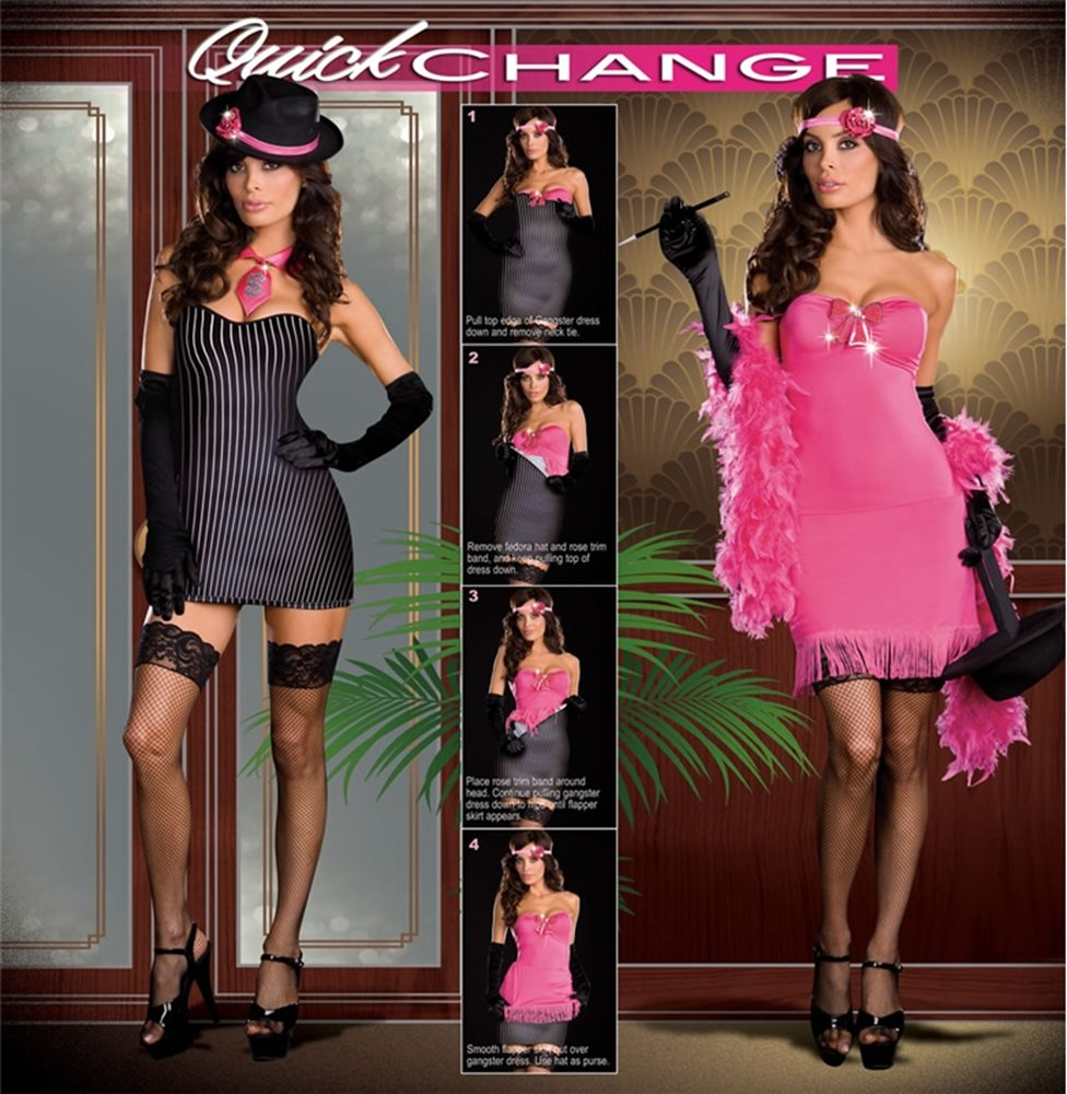 Picture of 5pc Gangster to Flapper Quick Change Adult Costume