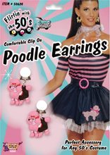 Picture of 50s Pink Poodle Earrings
