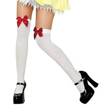 Picture of White Thigh Highs with Red Bow