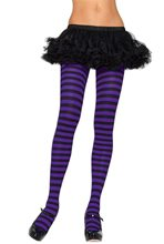 Picture of Black and Purple Striped Tights