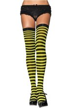 Picture of Black and Yellow Striped Thigh High Tights