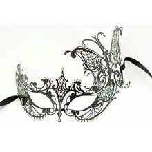 Picture of Metal Venetian With Side Butterfly Black Mask