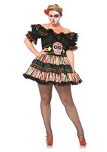 Picture of Day of the Dead Doll Adult Womens Plus Size Costume