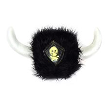 Picture of Furry Black Viking Helmet with Skull