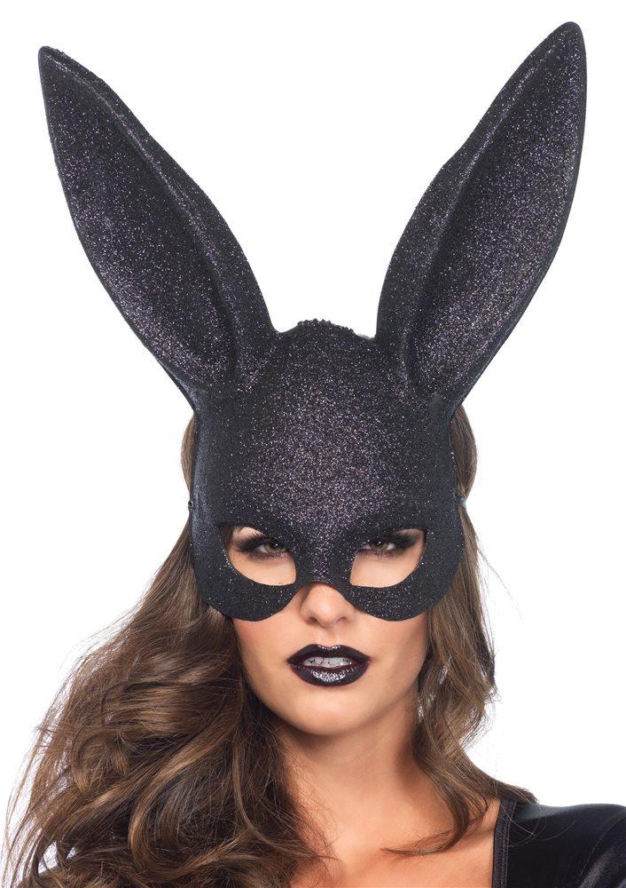 Picture of Black Glitter Masquerade Rabbit Mask