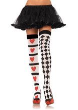 Picture of Harlequin & Heart Thigh Highs
