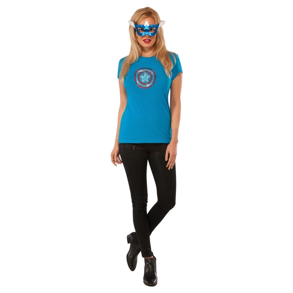 Picture of American Dream Rhinestone Adult Womens Shirt & Mask