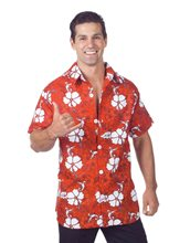 Picture of Red Hawaiian Aloha Adult Mens Shirt