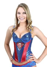 Picture of Supergirl Sequin Adult Womens Corset