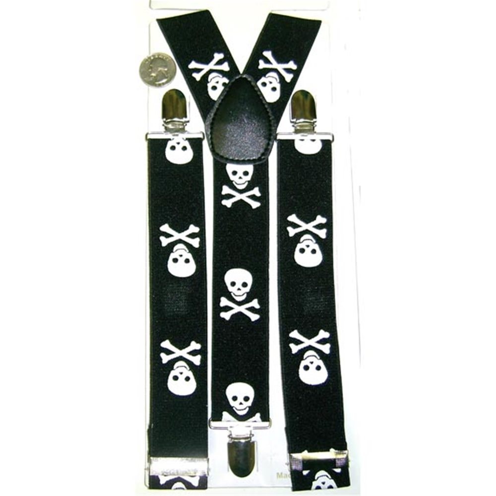 Picture of Black Large Skull & Crossbones Suspenders
