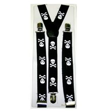 Picture of Black Small Skull & Crossbones Suspenders