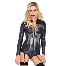 Picture of Shimmer Skull Adult Womens Garter Bodysuit