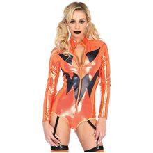 Picture of Shimmer Pumpkin Adult Garter Bodysuit