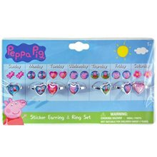 Picture of Peppa Pig Sticker Earring & Ring Set
