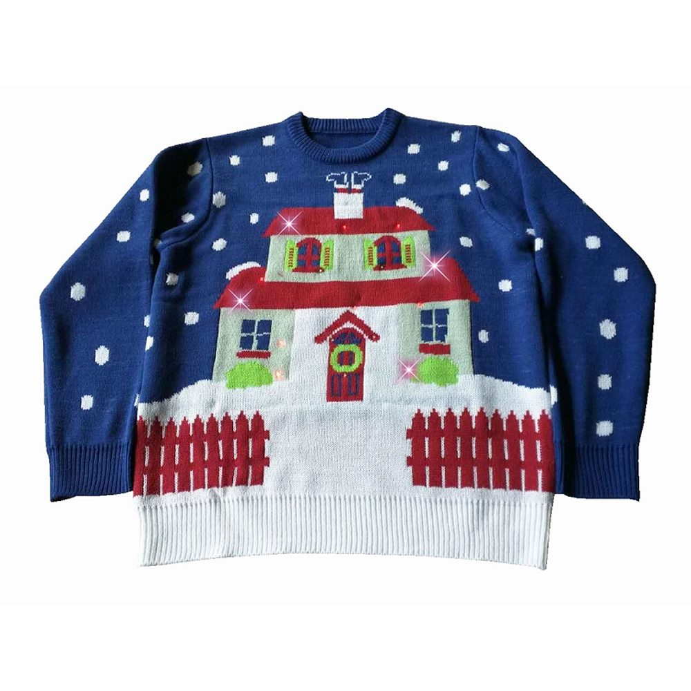 Picture of House With Too Many Lights Adult Ugly Christmas Sweater