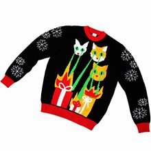 Picture of Laser Cat-Zillas Adult Ugly Christmas Sweater