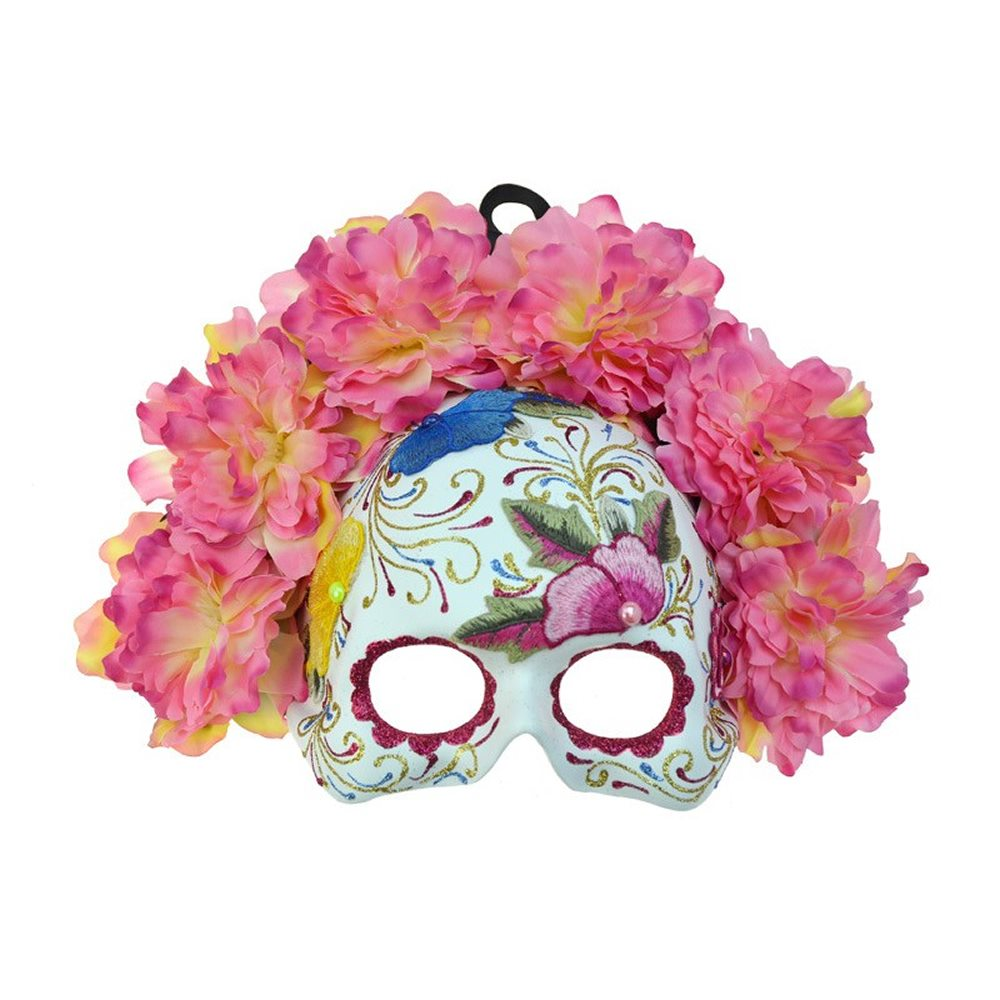 Picture of Pink Day of the Dead Embroidered Half Mask