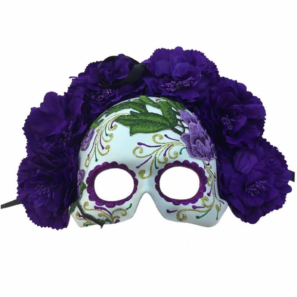 Picture of Purple Day of the Dead Embroidered Half Mask