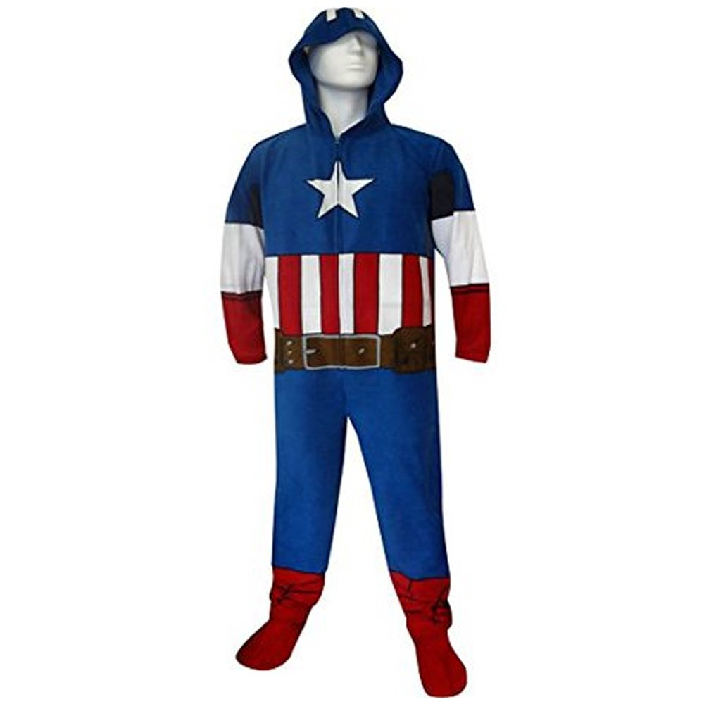 Picture of Captain America Adult Mens Hooded Onesie