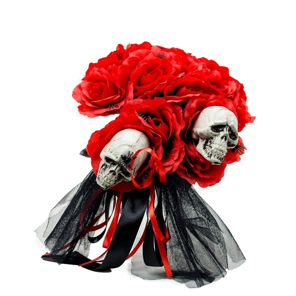 Picture of Red Skulls & Roses Bouquet