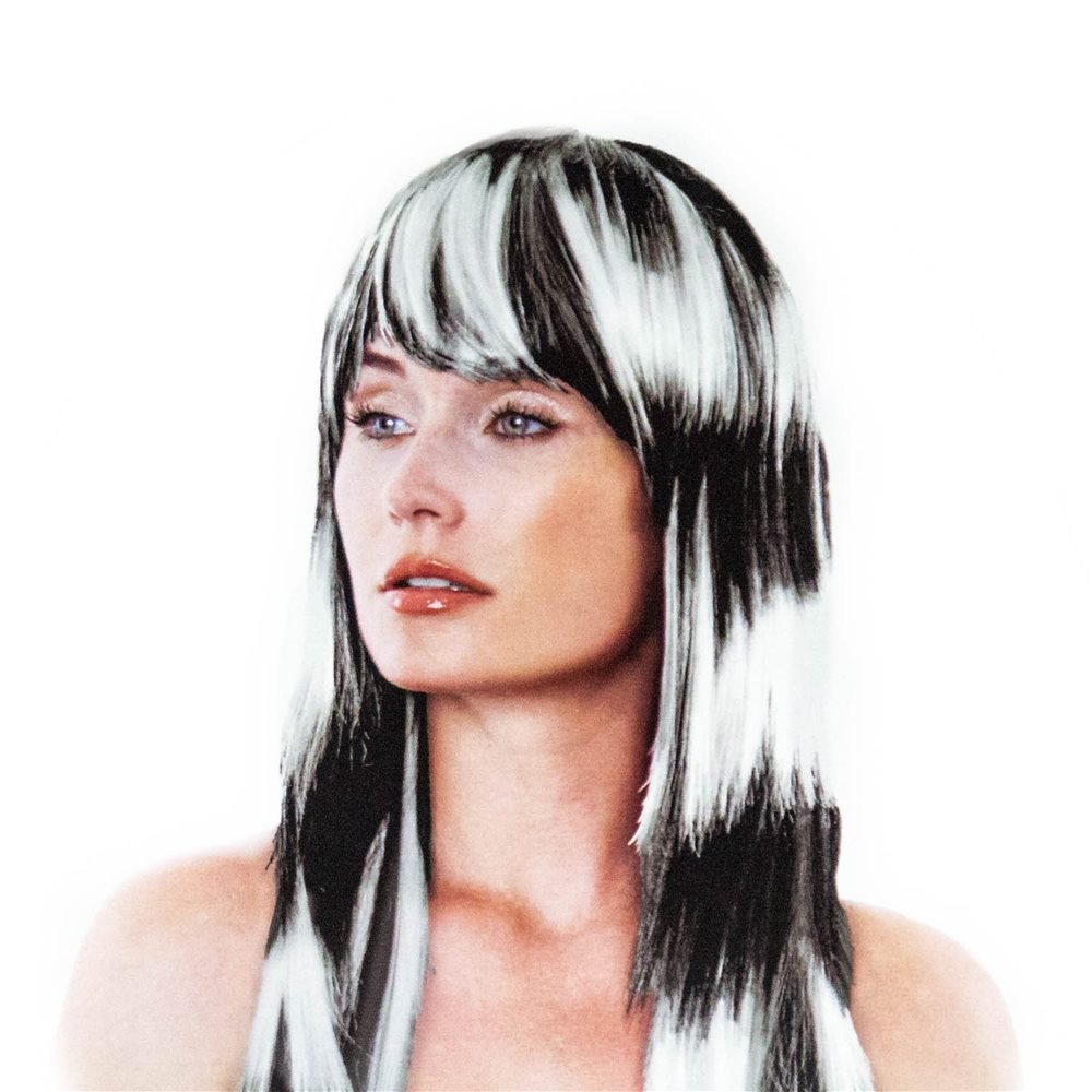 Picture of Punk Rocker White Striped Wig