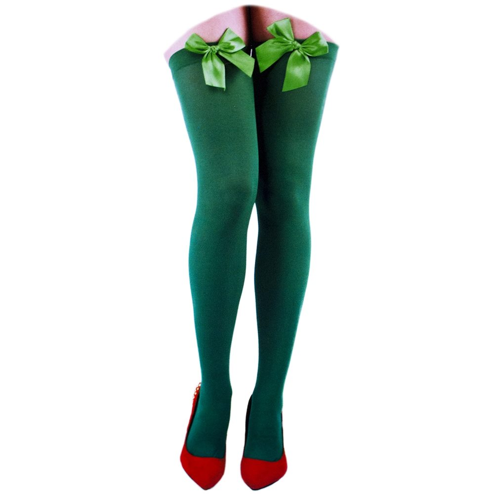 Picture of Green Opaque Thigh Highs with Bows