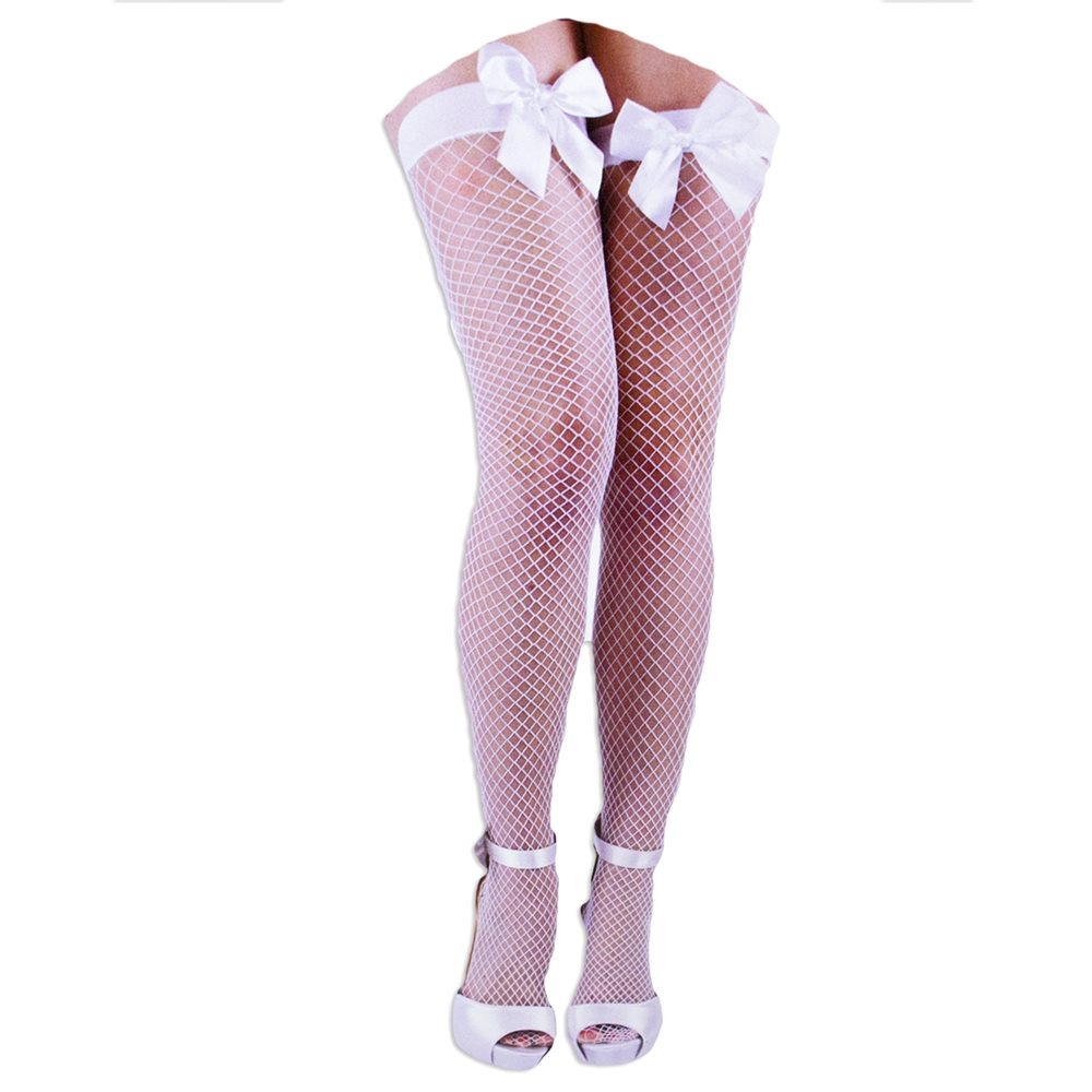 Picture of White Fishnet Thigh Highs with Bow