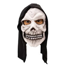 Picture of White Skull Mask with Black Hood